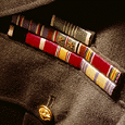 Medals and insignias on shirt